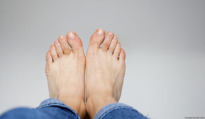 bare feet in air